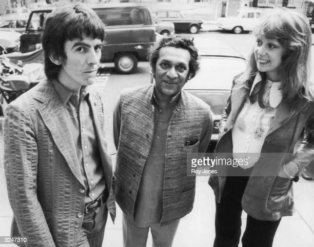 Former Beatle George Harrison with his wife model Patti Boyd and sitar player Ravi Shankar