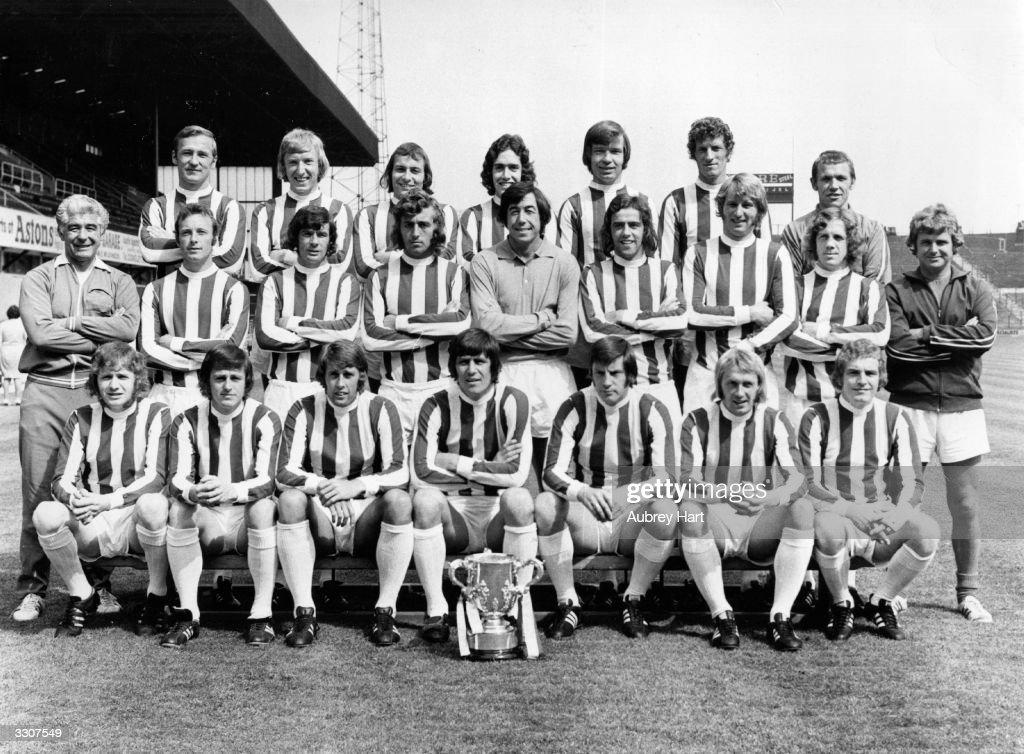The Stoke City team with the League Cup trophy Peter Dobing Stewart Jump John Marsh Sean Haselgrave Alex Elder William Stevenson physiotherapist...