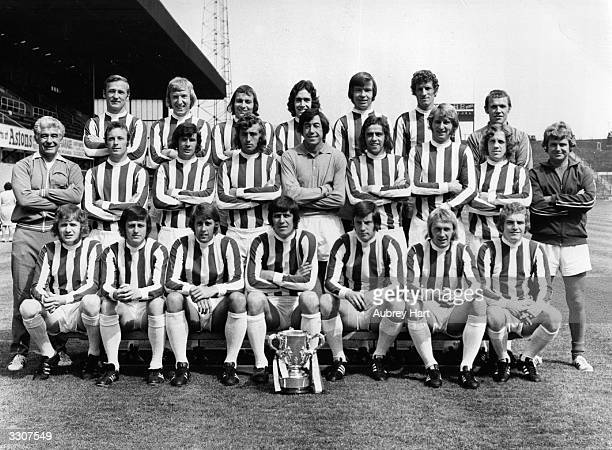 The Stoke City team with the League Cup trophy Peter Dobing Stewart Jump John Marsh Sean Haselgrave Alex Elder William Stevenson physiotherapist...