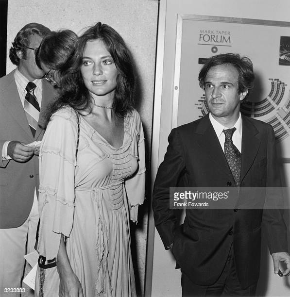 British actor Jacqueline Bisset and her boyfriend French director Francois Truffaut stand in the lobby of the Mark Taper Forum Theater at the...