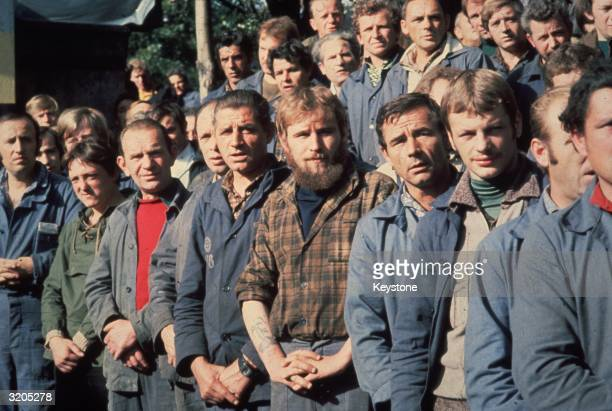 Members of the Trade Union Solidarity who are on strike at the Lenin Shipyard in Gdansk The Polish workers are protesting for a free trade union and...