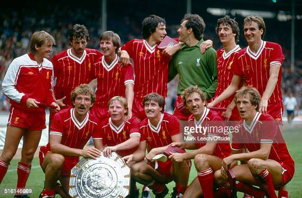 11 August 1982 Charity Shield Liverpool v Tottenham Hotspur The Liverpool team group together with the Charity Shield following their victory