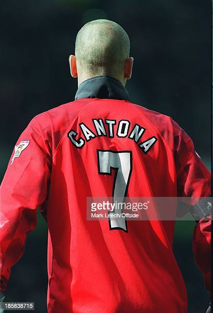 25 August 1996 Manchester United v Blackburn Rovers United number seven Eric Cantona with his shaved head and upturned collar
