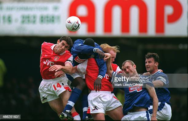 24 August 1996 Premiership Leicester City v Arsenal Arsenal and Leicester players battles against each other as the ball comes into the box