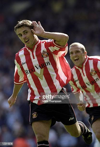 Kevin Phillips of Sunderland celebrates after scoring a penalty against Leeds United during the FA Carling Premiership match at Elland Road in Leeds...