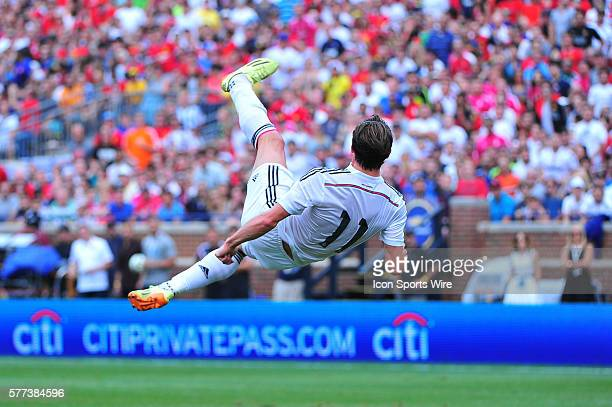 August 2 2014 Detroit MI Real Madrid midfielder Gareth Bale hits a bicycle kick during the match Saturday afternoon in the Guinness International Cup...
