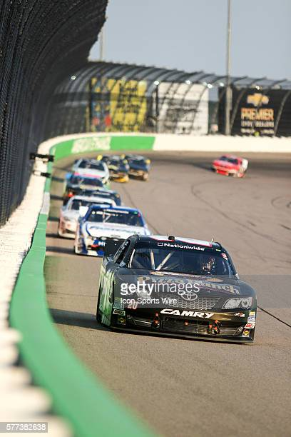Michael McDowell driver of the No 20 Pizza Ranch Toyota during the 6th Annual US Cellular 250 presented by New Holland NASCAR Nationwide Series race...