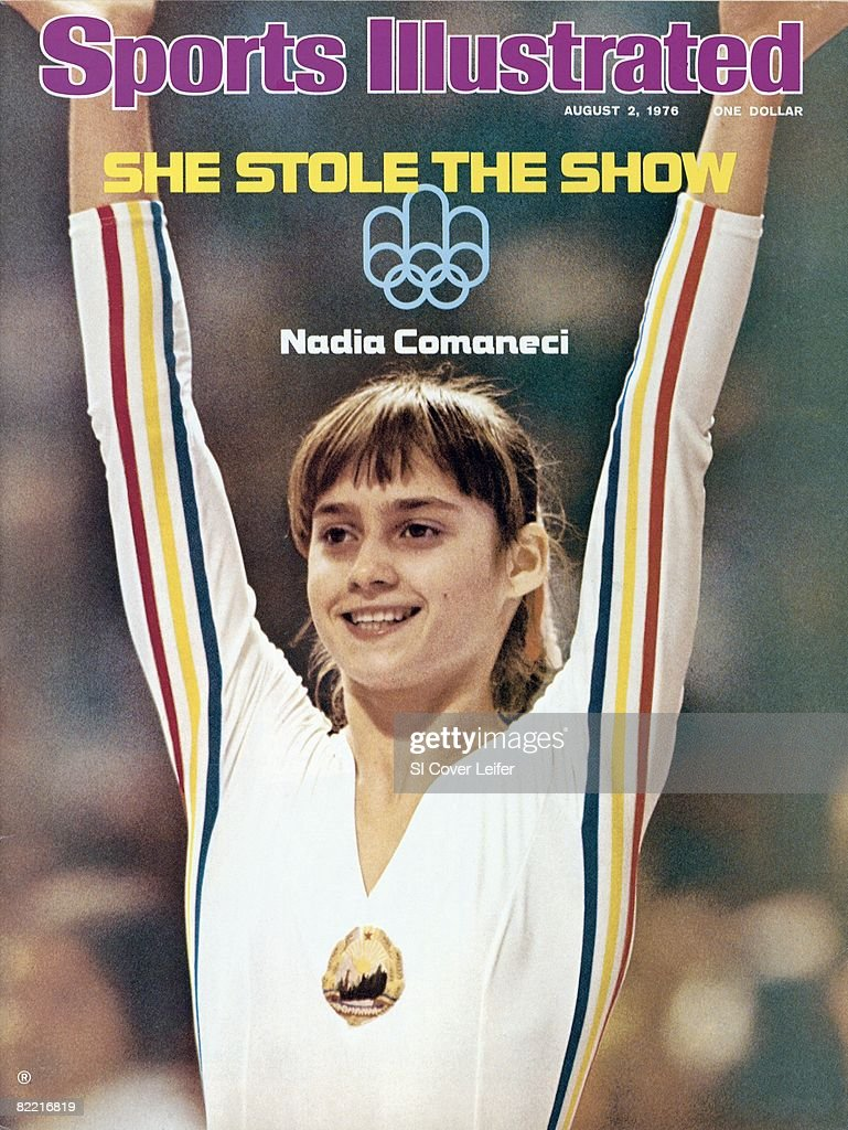 Gymnastics 1976 Summer Olympics Closeup of Romania Nadia Comaneci victorious during competition at Montreal Forum Montreal Canada 7/17/19767/31/1976...