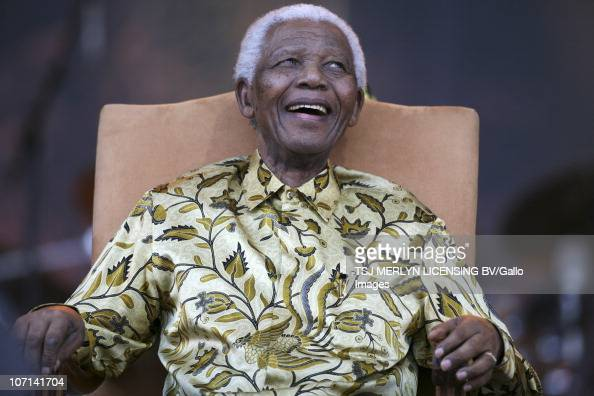 Former South African President anti apartheid activist and Nobel Peace Prize laureate Nelson Mandela celebrates his 90th birthday at Loftus Versfeld...