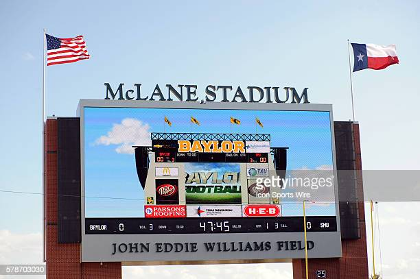 Large screen scoreboard at new Baylor stadium prior to 45 0 win over SMU at McLane Stadium in Waco TX