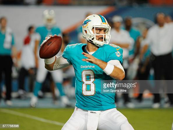 Miami Dolphins Quarterback Matt Moore throws the ball during a preseason NFL game between the Dallas Cowboys and the Miami Dolphins at Sun Life...
