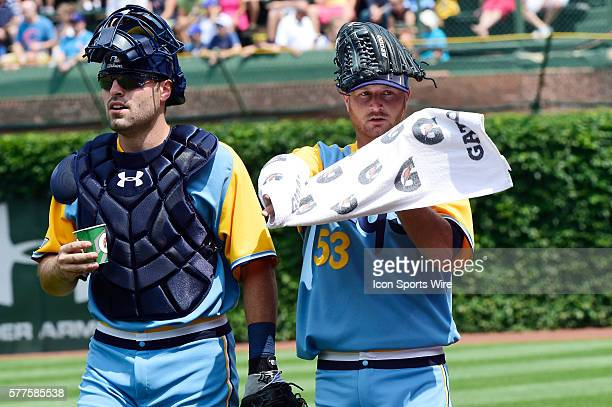 Starting pitcher Alex Cobb and battery mate Curt Casali prior to playing in a MLB game between the Tampa Bay Rays and the Chicago Cubs at Wrigley...