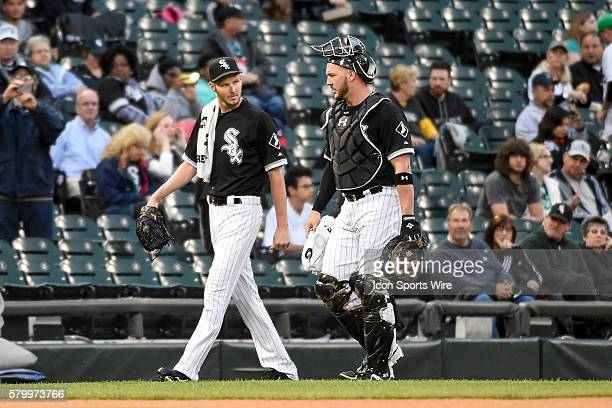 Battery mates Chicago White Sox Starting pitcher Chris Sale [8322] and Chicago White Sox Catcher Tyler Flowers [6904] chatting prior to working in a...
