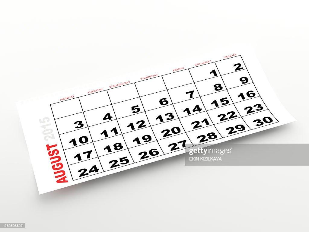 Agosto 2015 calendario : Foto stock