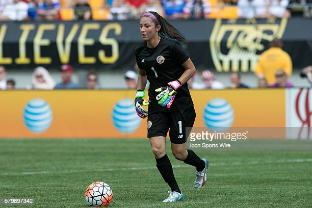 Costa Rica Goalie Dinnia Diaz looks to pass the ball during the game between Costa Rica and the United States at Heinz Field in Pittsburgh Pa The...