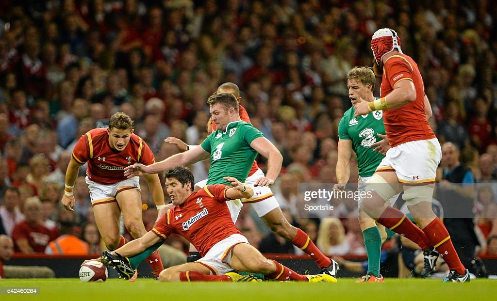 8 August 2015 Donnacha Ryan Ireland competes for a loose ball with James Hook Wales Rugby World Cup WarmUp Match Wales v Ireland Millennium Stadium...