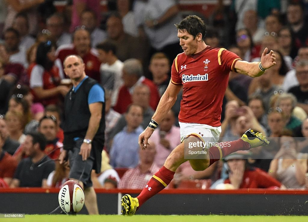 8 August 2015 James Hook Wales kicks a conversion Rugby World Cup WarmUp Match Wales v Ireland Millennium Stadium Cardiff Wales Picture credit Ramsey...