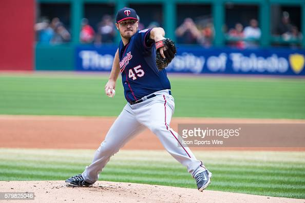 Minnesota Twins Starting pitcher Phil Hughes [5020] delivers a pitch to the plate during the first inning of the game between the Minnesota Twins and...