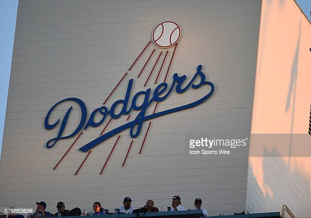 The Dodgers logo on the top deck elevator during a Major League Baseball game between the Cincinnati Reds and the Los Angeles Dodgers at Dodger...