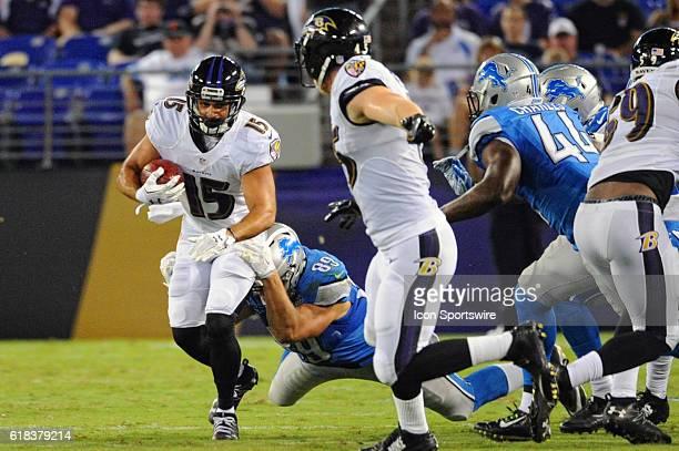 ... Baltimore Ravens wide receiver Michael Campanaro returns a punt against  Detroit Lions tight end Cole Wick ... 3c69296a5