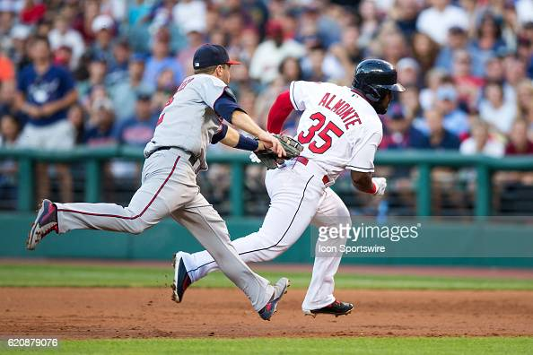 Cleveland Indians Outfield Abraham Almonte [8171] is tagged out after getting caught in a rundown after hitting a single by Minnesota Twins Second...