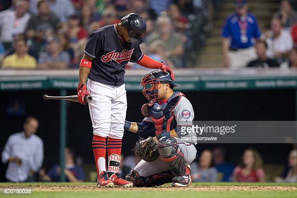 Cleveland Indians Shortstop Francisco Lindor [9119] checks on Minnesota Twins Catcher Juan Centeno [10505] after Centeno was hit with a foul tip...