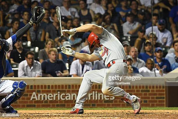 St Louis Cardinals Left field Matt Holliday [2901] gets hit by a pitch from Chicago Cubs Pitcher Mike Montgomery [8048] during a game between the St...