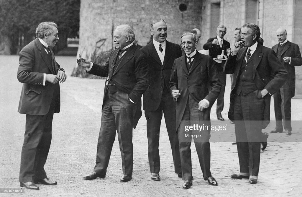August 20th 1921. The council met to discuss the Upper Silesian problem. Left to Right M Briand French premier, David Lloyd George British Prime Minister, Sir Robert Horne, Col Havery United States Ambassador to the Court of St James and Mr Merrick United States Ambassador in Paris.