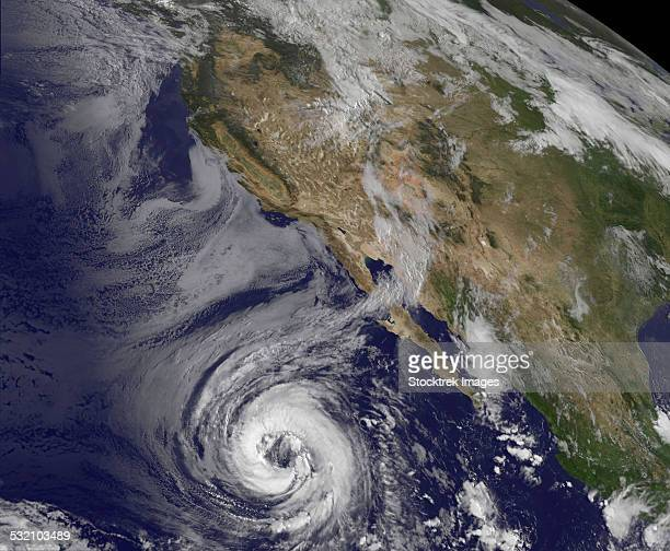 August 21, 2014 - Tropical Storm Lowell strengthening into a large hurricane in the Pacific Ocean.