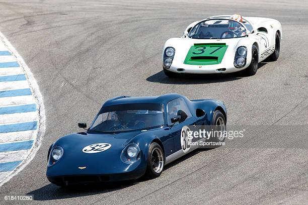 A 1967 Chevron GT B8 driven by Michael Reischl from Kent WA leads A 1967 Porsche 910 driven by Reginald Howell from Corona Del Mar CA during Rolex...