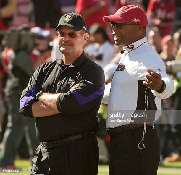 Vikings head coach Brad Childress and 49ers head coach Mike Singletary meet on the 50 yard line before game on Sunday August 22 2010 at Candlestick...