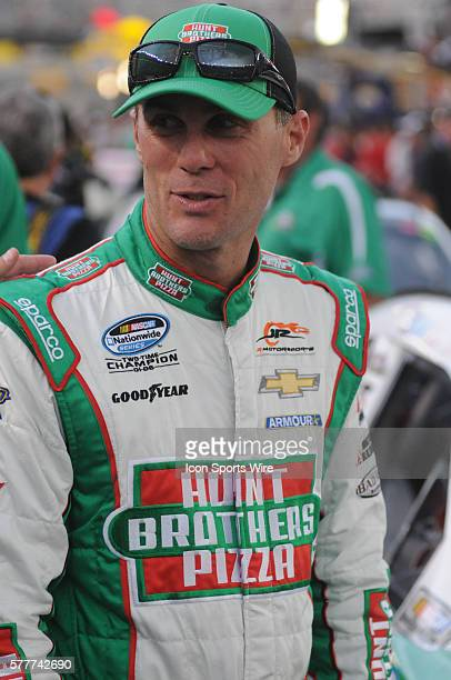 Kevin Harvick JR Motorsports Hunt Brothers Pizza Chevrolet Camaro SS before the Food City 300 Ryan Blaney Penske Discount Tire Ford Mustang won the...