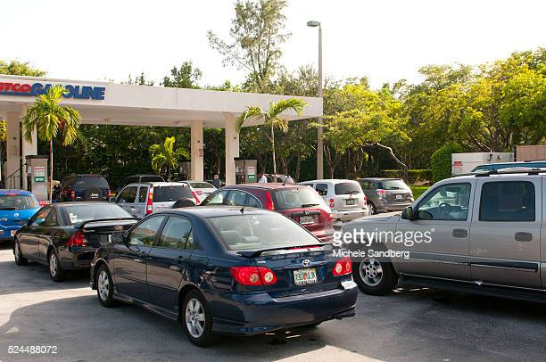 August 23 2012 Long lines for gas at Costco Gas Station South Florida prepares for Storm Isaac