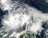 August 23, 2012 - Tropical Storm Isaac hovers over the Caribbean Sea.