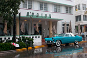 August 24 2012 Stormy weather hits Miami as Tropical Storm Isaac approaches Florida Ocean Drive tourist spot is empty on a Friday afternoon due to...