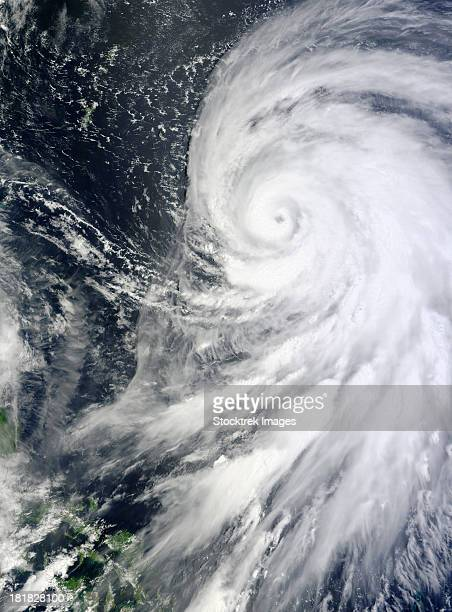 August 24, 2012 - Typhoon Bolaven with a well-defined eye and spiral arms northeast of the Philippines.