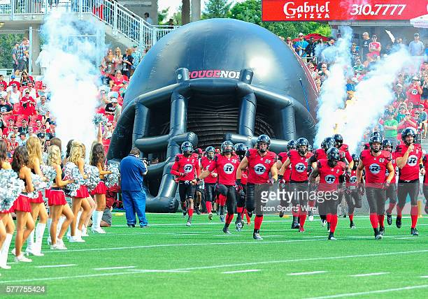 RedBlacks team are introduced to the crowd before the Ottawa RedBlacks game versus the Calgary Stampeders at TD Place Stadium in Ottawa ON Canada...