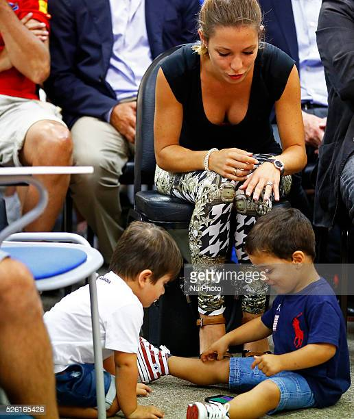 the wife of Pedro Carolina Martin with his son Brian and Thiago the son of Leo Messi in the Pedro Rodriguez press conference FC Barcelona farewell...