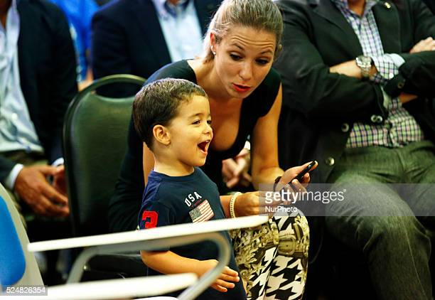 the wife of PedroCarolina Martin with his son Brian in the Pedro Rodriguez press conference FC Barcelona farewell held at the Sports City on august...