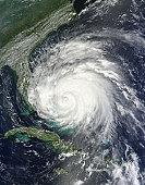 August 25, 2011 - Satellite view of Hurricane Irene over the Bahamas.