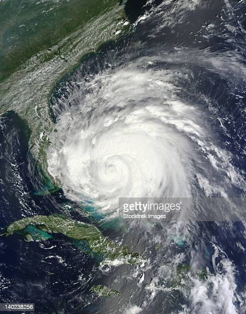 August 25, 2011 - Satellite view of Hurricane Irene over the Bahamas.