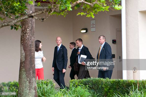 August 25 2012 GOVERNOR RICK SCOTT leaving his media briefing on Hurricane Isaac