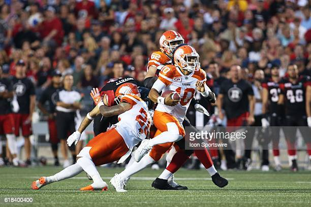 Jonathon Jennings of the BC Lions breaks downfield against the Ottawa Redblacks in Canadian Football League action at TD Place Stadium in Ottawa...