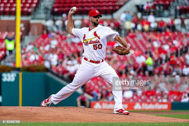 St Louis Cardinals Starting pitcher Adam Wainwright [3299] pitches during the first inning of a baseball game between the New York Mets and the St...