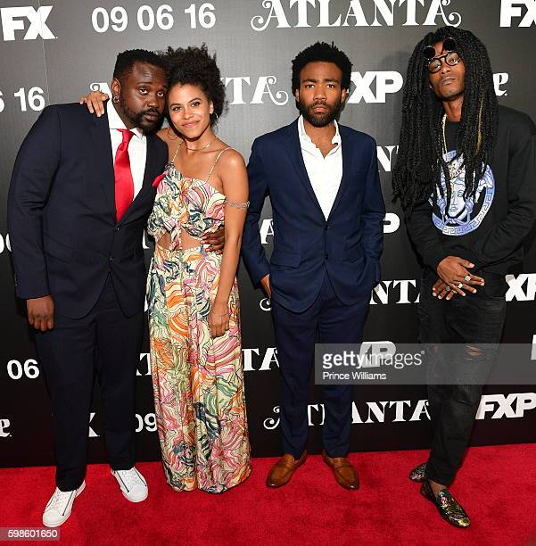Brian Tyree Henry Zazie Beetz Donald Glover and Keith Stanfield attend the FX Premiere of 'Atlanta' at the Georgia Aquarium on August 25 2016 in...