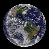 August 26, 2011 - Satellite view of a Full Earth with Hurricane Irene visible on the United States East Coast.