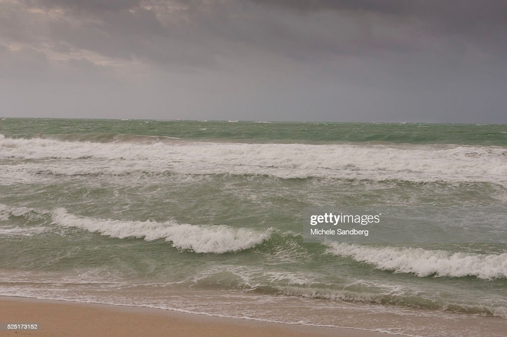 August 26 2012 Grey Skies And Rough Waves At The Beach During Storm ISAAC