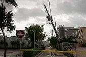 August 26 2012 Heavy Winds Cause Florida Power and Lighting Pole to fall down FPL covers the electricity in South Florida