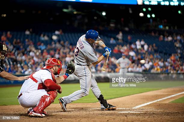 New York Mets First base Michael Cuddyer hits during the game between the New York Mets and Philadelphia Phillies at Citizens Bank Park in...