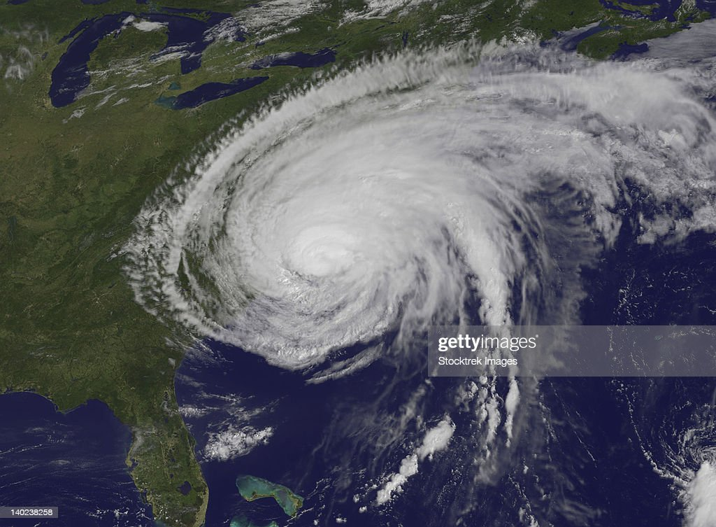 August 27, 2011 - Satellite view of Hurricane Irene after it made landfall in Cape Lookout, North Carolina. Irene's outer bands are extended into New England.